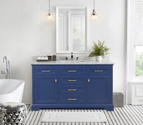 "Milano 54"" Single Sink Vanity in Blue ML-54-BLU from Design Element"