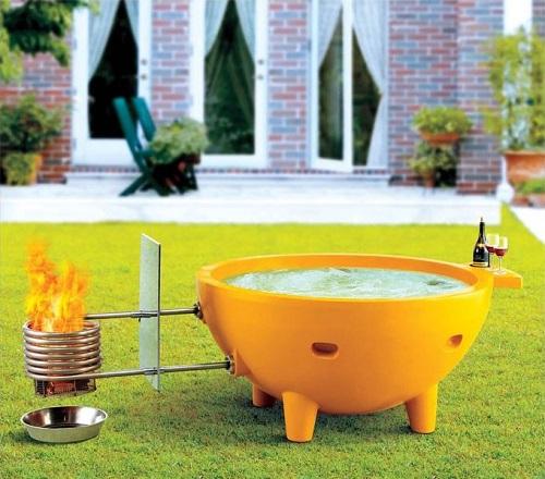 Orange Fiberglass Soaking Hot Tub - Portable Fire Burning Outdoor Firehottub from Alfi