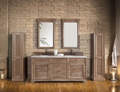"""Savannah 72"""" Double Bathroom Vanity 238-104-5711 With Optional Linen Cabinets from James Martin Furniture"""