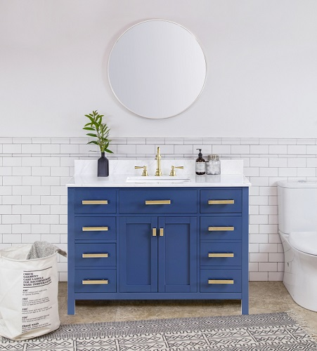 "Valentino 48"" Single Sink Vanity in Blue V01-48-BLU from Design Element"