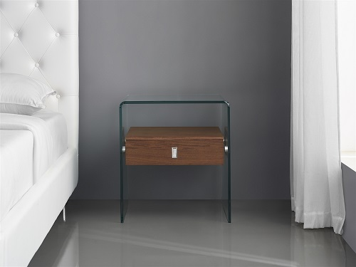 Bari Walnut Veneer with Glass Nightstand or End Table CB-J052-WAL by Casabianca Home