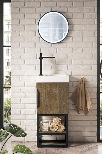 "Columbia 16"" Single Vanity Cabinet in Latte Oak and Matte Black 388-V16-LTO-MBK-WG from James Martin Furniture"