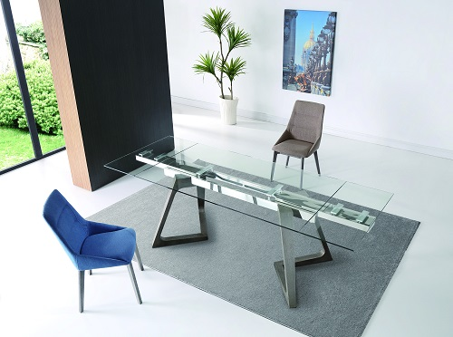 Delta Extendable Dining Table in Clear Glass with Grey Oak Base DT1276-GRY from Whiteline Imports