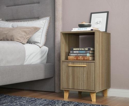 Herald Mid Century Modern Nightstand With One Shelf in Oak Brown from Manhattan Comfort