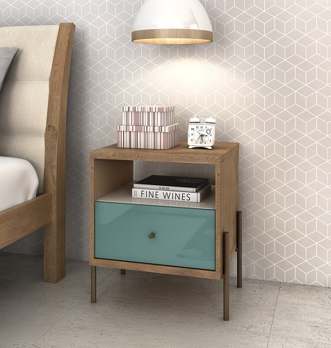 Joy Nightstand with 1-Full Extension Drawer in Blue 350482 from Manhattan Comfort