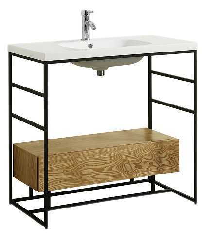 "Lodge 36"" Teak Bathroom Vanity with White Integrated Acrylic Sink EVVN988-36TK from Eviva"