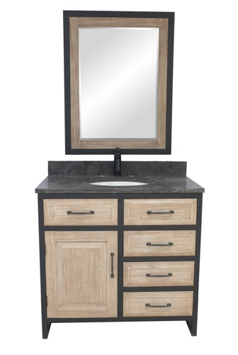 "Rustic Solid Fir 36"" Single Sink Vanity with Iron Frame and Limeston Top WK8836-WK from InFurniture"