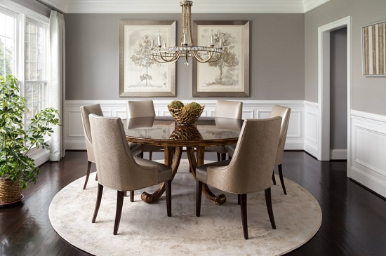 There are just a few simple pieces you need to build a stow-shopping dining room around a round dining table (by Mimi Wilson)