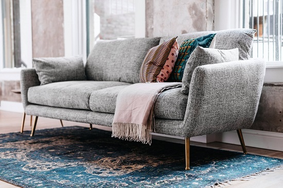 Harlow Sofa in Grey Fabric EF-ZX-3S009 from Edloe Finch