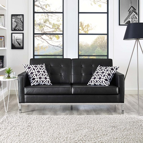 Loft Leather Loveseat EEI-2780-BLK from Modway Furniture