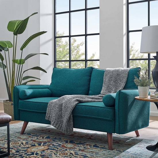 Revive Upholstered Fabric Loveseat in Teal EEI-3091-TEA from Modway Furniture