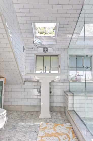 Bumping out a ceiling isn't a project for the faint of heart, but it might be the best way to get a fully-functioning bathroom in a space where the ceilings are just too low (by Bright Common Architecture & Design)