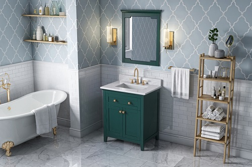 """Chatham 30"""" Forest Green Vanity VKITCHA30GNWCR from Hardware Resources"""