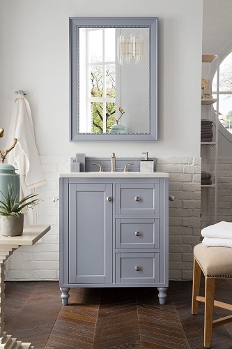 """Copper Cove Encore 30"""" Single Bathroom Vanity in Silver Gray 301-V30-SL-3IBK from James Martin Furniture"""