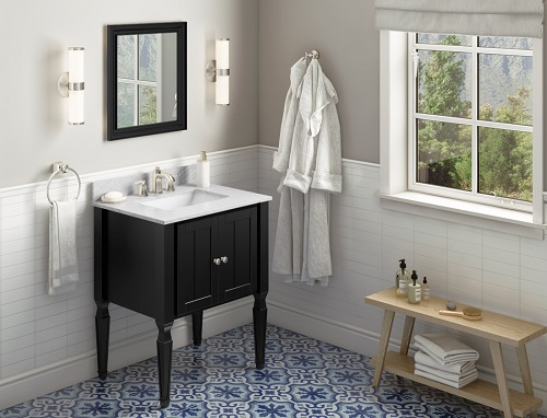"Jensen 30"" Black Bathroom Vanity VKITJEN30BKWCR from Hardware Resources"