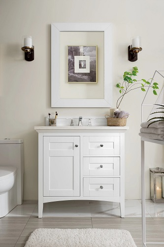 """Palisades 36"""" Single Bathroom Vanity in Bright White 527-V36-BW from James Martin Furniture"""