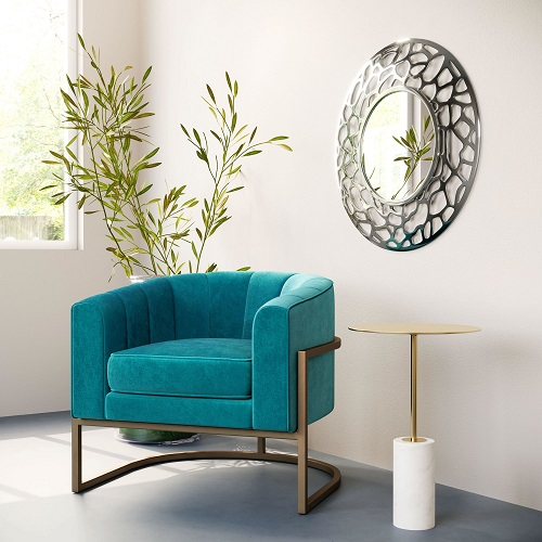 Reef Round Mirror A12218 in Aluminum from Zuo Modern